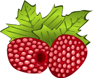 Raspberries and Leaves clipart