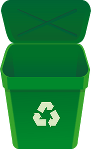 Empty Green Recycle Can with Open Lid clipart