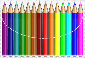 Colouring Pencils in a Clear Case clipart