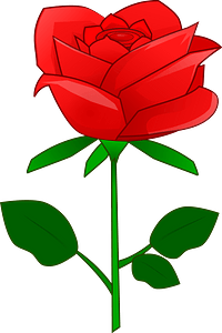 Red Rose with Stem clipart