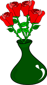 Red Roses in a Green Vase clipart