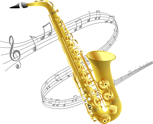 Saxophone and Music Staff clipart