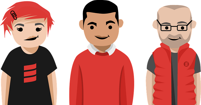 Group of People wearing Red clipart