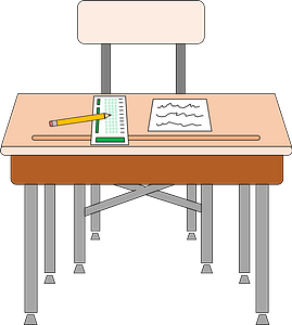 School Desk and Chair with Scantron Test clipart