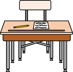 School Desk and Chair with Worksheet and Pencil clipart