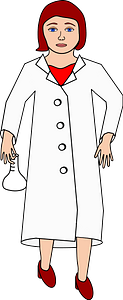 Scientist Holding Flask White clipart
