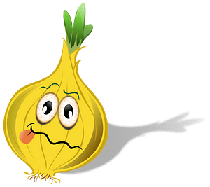 Onion with a frowning face clipart