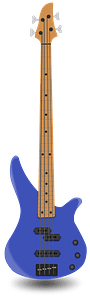 Blue Bass Guitar clipart