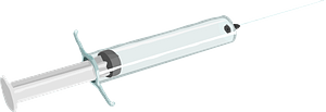 Syringe with hypodermic needle clipart