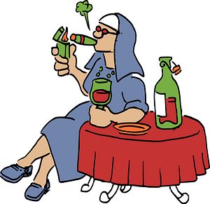 Nun Smoking and Drinking clipart