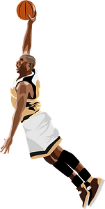 Basketball Player Slamdunking the Ball clipart