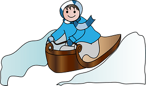 Child on a Toboggan going down a hill clipart