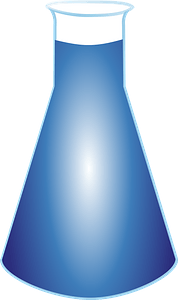 Flask filled with blue liquid clipart
