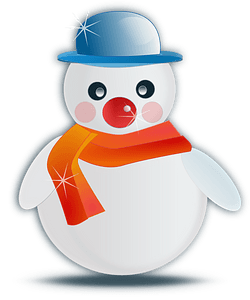 Snowman with an orange scarf and blue hat clipart