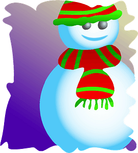 Snowman with striped scarf and hat on purple background clipart