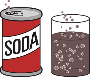 Soda can and glass clipart