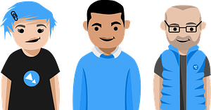 Three People in Blue clipart