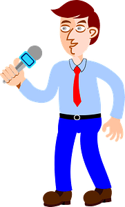 Man speaking in a microphone clipart