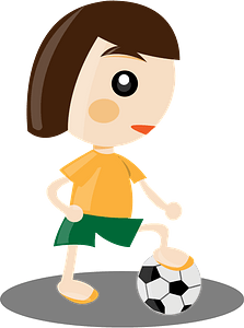 Girl playing soccer clipart
