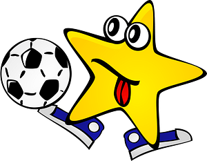 Star playing soccer clipart