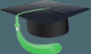Black Graduation Mortarboard with Green Tassel clipart