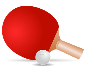 Table tennis paddle and ball clipart