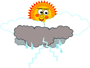 Smiling sun with dark clouds and rain clipart
