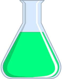 Beaker filled with green liquid clipart