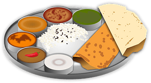 Thali, platter of Indian food clipart