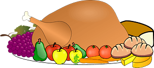 Turkey on a platter arranged with fruit and bread clipart