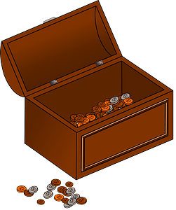Modern treasure chest with a few ancient coins clipart