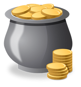 Gray Pot Filled with Gold Coins clipart