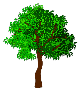 Green Tree with Leaves clipart