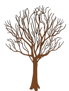 Brown tree bare of leaves clipart
