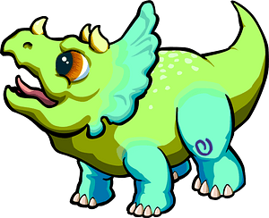 Brightly-colored Triceratops walking clipart