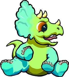 Brightly-colored Triceratops Sitting down clipart