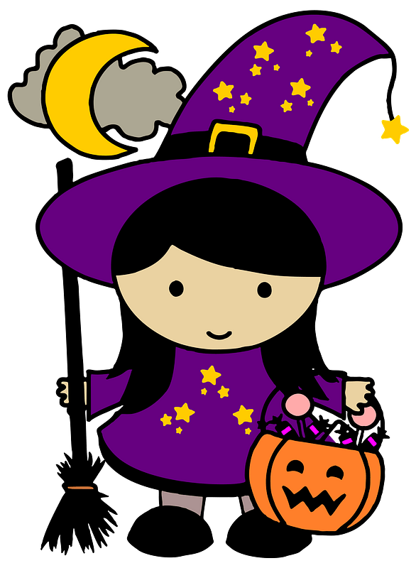 Girl In A Witch Costume For Halloween Clipart Free Download Transparent Png Creazilla