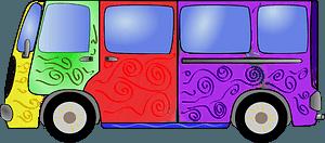 Multi-colored Hippie Van clipart