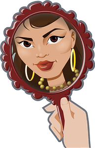 Face in a hand mirror clipart