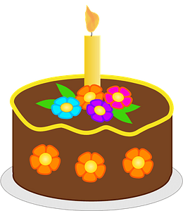Chocolate Birthday Cake with Candle clipart