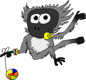 Vervet monkey with pacifier and yo-yo clipart