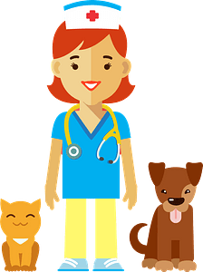 Female Veterinarian with a dog and a cat clipart