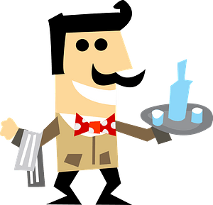 Waiter holding a tray with drinks clipart