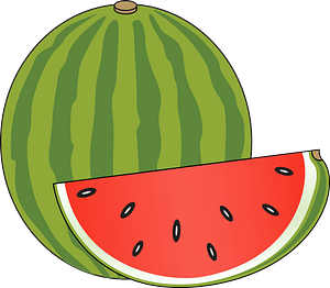 Whole Watermelon and Cut Wedge clipart