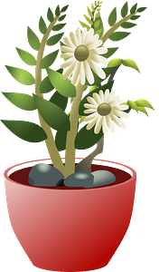White flowers in a brown pot clipart