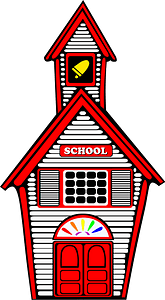 White schoolhouse with red trim clipart