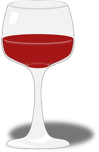 Half-filled wine glass clipart