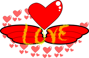 Red heart with wings clipart