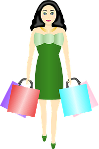 Woman carrying shopping bags clipart