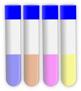 Capped test tubes half-filled with different color liquid clipart